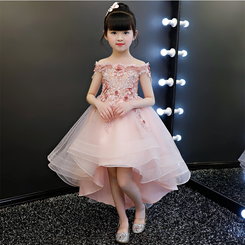 Elegant Kids Pink Lace Flower Girls Dress Kids Pageant Party Wedding Ball Gown Prom Princess Formal