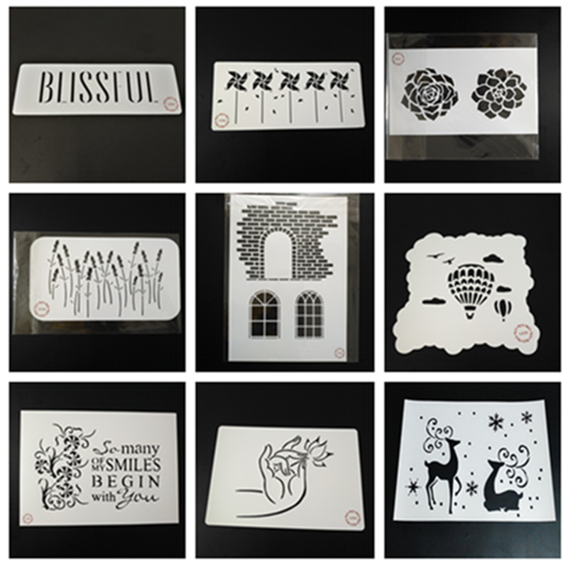 Buddha Hand Stencil-Set of 9pcs Wind Pill,Lavender,Deer,Brick,Hot Ballon stencils for craft painting,scrapbook,stamping,set of 9