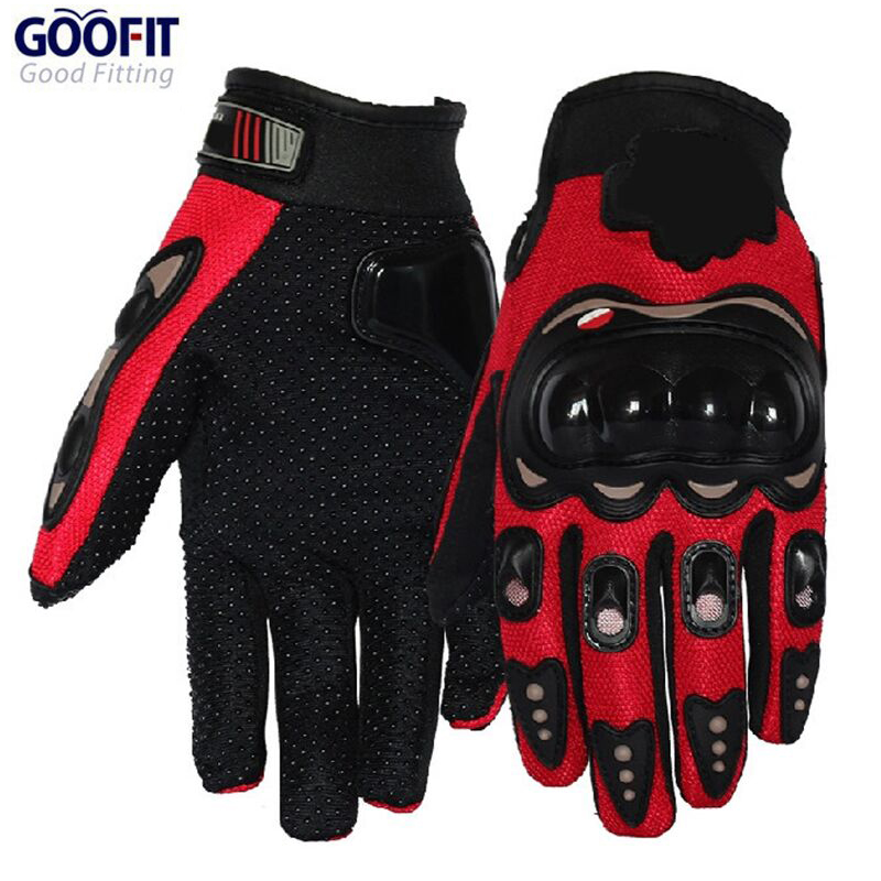 GOOFIT Full Finger Red Sports Motorcycle Gloves Bicycle Breathable Mesh Fabric Slip Motorbike Racing motocross leather MCS-01D body building sports cyling half finger gloves for women black red