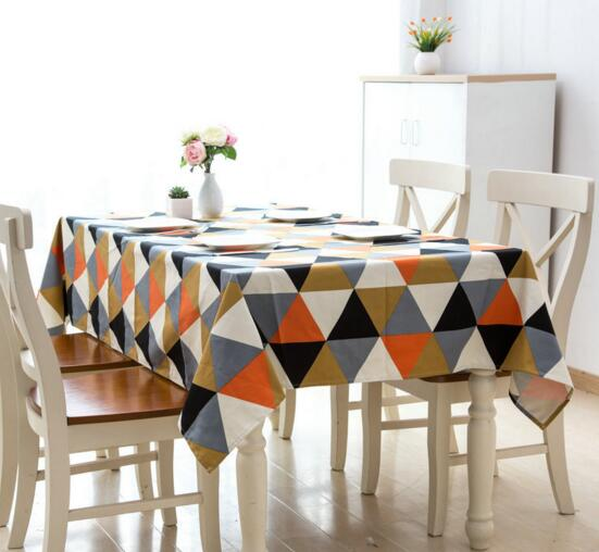 Triangle Block Tablecloth New Arrival Cotton And Linen Dust Tea Sofa Cover  Study Picnic Blanket Tablecloth
