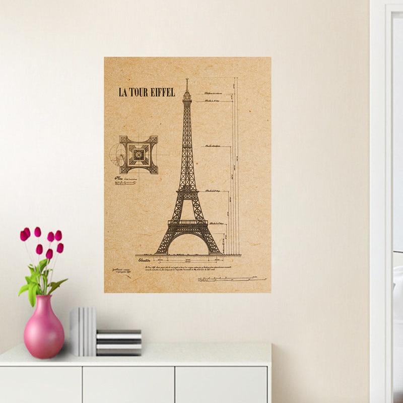 Paris Eiffel Tower structure chart kraft poster retro wall stickers ...