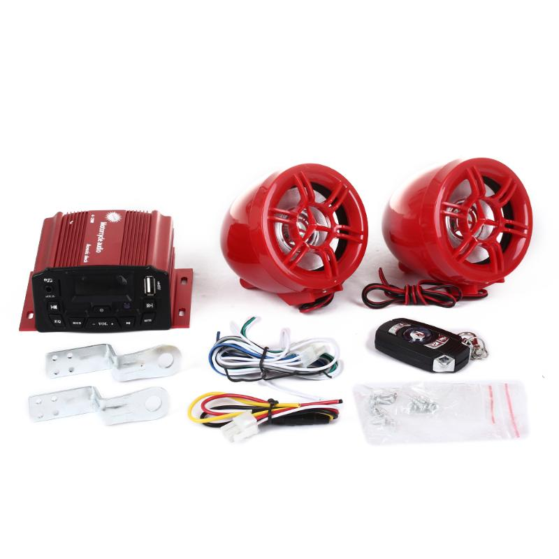 Motorcycle Motorbike Audio System MP3 Speaker Amplifier TF/USB Card Red