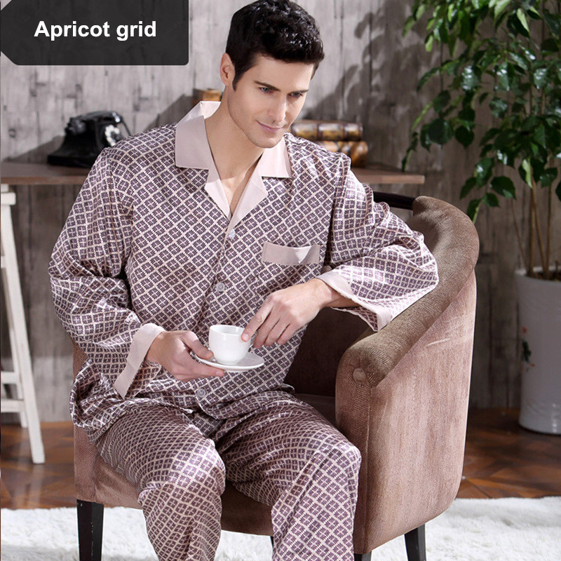 Spring Mens Stain Silk Pajama Set Pajamas Men Sleepwear Modern Style Silk  Nightgown Home Male Satin b05289034