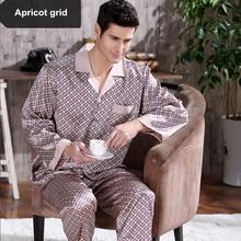 07a6666811662f Wiosna mężczyzna plamy jedwabne piżamy zestaw piżamy mężczyzn bielizna nocna  nowoczesny styl jedwabiu koszula nocna domu