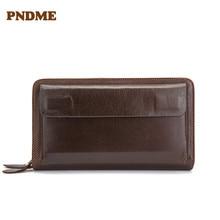 Business man's wallet long head layer cowhide handbag large capacity wallet change purse