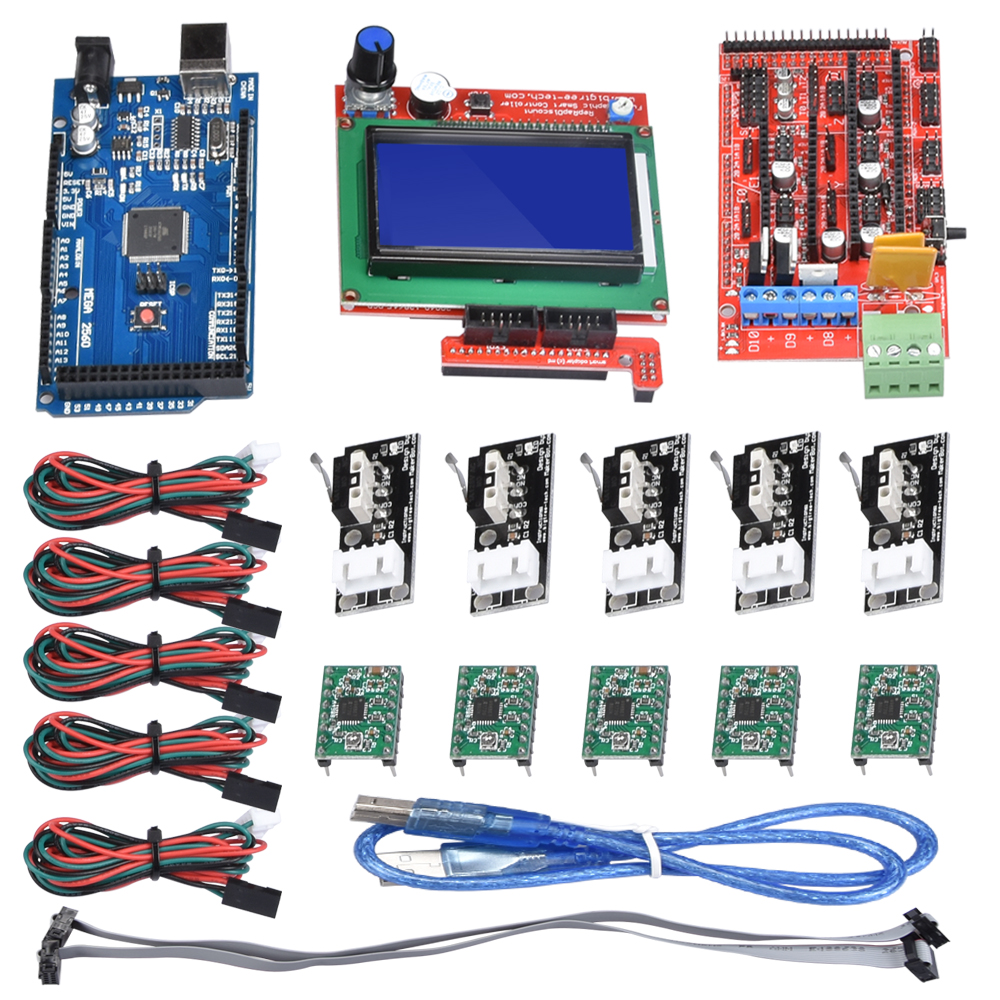 Mega 2560 R3+RAMPS 1 4 Control panel +12864 LCD Controller+Limit Switch  Endstop+A4988 Stepper Motor Driver for 3D Printer Kit