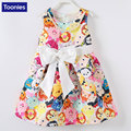 2017 New Fashion Children's Dress Girl's Cartoon Printing Princes Dress Big Bow Lovely Dress For Kids 90-130CM Hot Sale Dress
