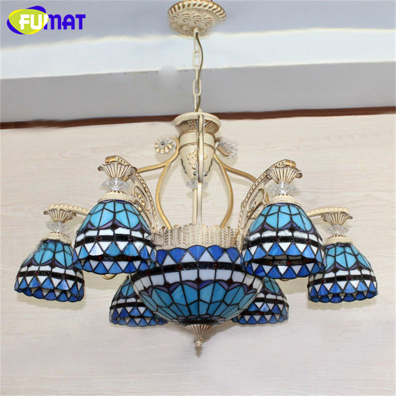 FUMAT Tiffany Pendant Light European Vintage Glass Pendant Light Artistic Tiffany Bar Cafe Lamp Indoor Dining Room Pendant Light vintage 10 tiffany frosted colored glass