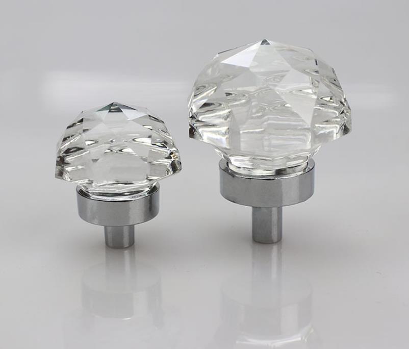 mushroom crystal 30 36mm haplopore Diamond crystal Alloy Door Drawer Cabinet Wardrobe Pull Handle Knobs Drop