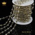 5 Метр DIY Позолоченные и Серый Цвет Провода Завернутый Бисером Цепи Цепи Четки Граненые Хрустальные Бусины на Ожерелье, Браслет JD042