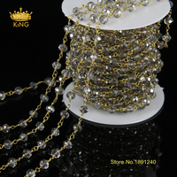 5Meter DIY Gold Plated And Grey Color Wire Wrapped Beaded Chain Rosary Chain Faceted Crystal Beads