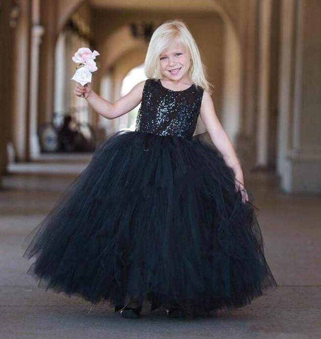 Ball Gown Black Formal Wear Kids Pageant Dresses Tulle Sheer Puffy ...