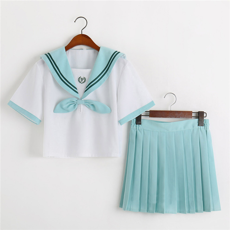 UPHYD School Uniform Preppy Style Pink Or Mint Green Green Anime School Uniform Cosplay Costumes Plus Size S-XXL