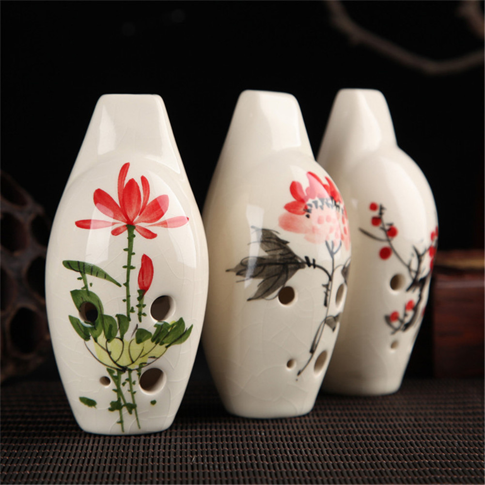 Ocarina Flute 6 Hole Alto C Bamboo Vintage Ceramics Orff Woodwind Instrument Lotus, Plum Blossom, Peony, Orchid,Ink Lotus