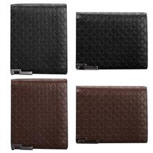 Men's Short Faux Leather Tartan Pattern Zipper Wallet Card Money Clutch Billfold BVZI