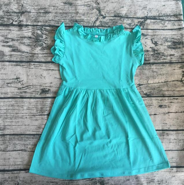 Summer Cotton Simple Frock Design For High Quality Baby Neck Ruffle Dress Children