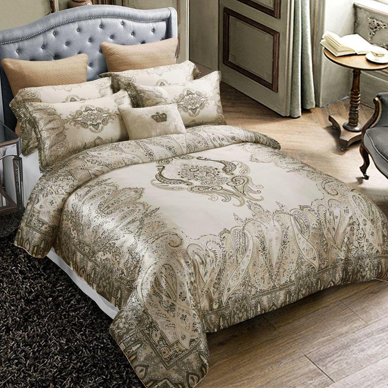 Роскошный шелк тутового royal постельные принадлежности King Size постельное белье пододеяльник в европейском стиле Богемия домашний текстиль п