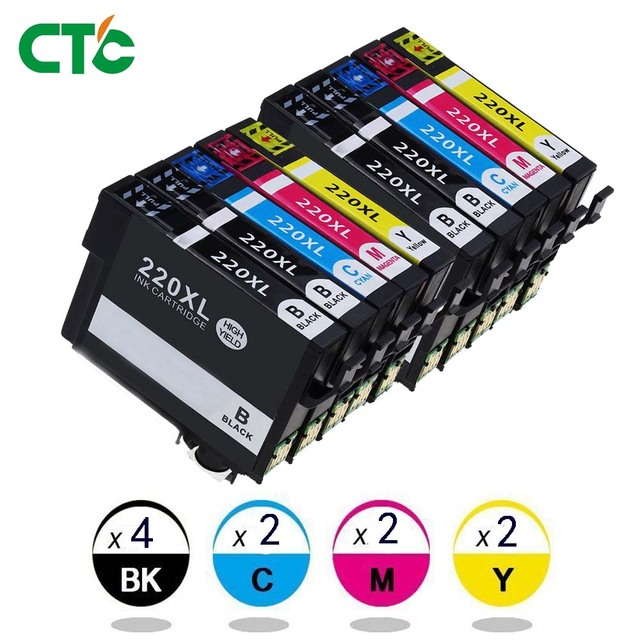 10x 220XL T2201 Cartridges Compatible for Epson WorkForce WF2630 WF2650  2660 XP320 XP420 XP424 WF 2760 Printers-in Ink Cartridges from Computer &