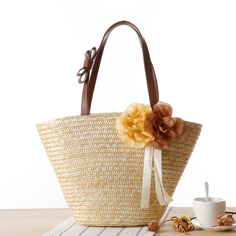 2017 Fashion Beach Bag for Summer Big Flower Straw Bag Handmade Woven High Quality Shoulder Bags Ladies Shopping Travel Tote Bag bow decor flower woven tote bag