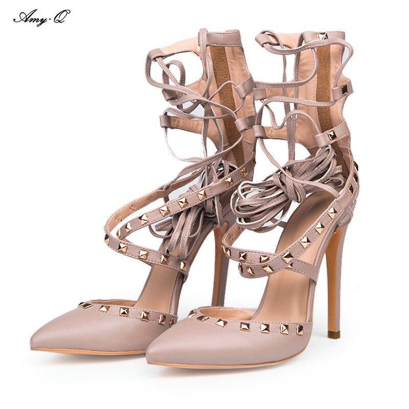 PADEGAO fashion novelty light grey PU Cross Lacing 11 cm high heeled font b women b