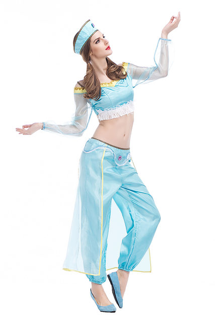 2017 Arabian Costume Adult Women Halloween Jasmine Aladdin Costume Cosplay Sexy Blue Belly Dance Dress Indian Clothes  sc 1 st  Aliexpress & Online Shop 2017 Arabian Costume Adult Women Halloween Jasmine ...