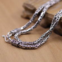 Thai goods wholesale silver S925 silver Thai handmade antique silver 4mm men and women necklace diameter 5cm (20 inches)