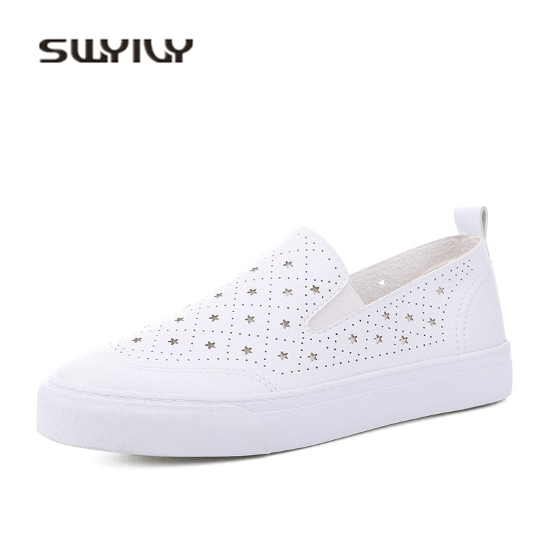 SWYIVY Woman Sneakers Breathable Hollow White Shoes Casual Female 2018 Summer Slip On Lazy Sneakers Student Leisure Sneaker PU swyivy women sneakers light weight 2018 41 woman casual shoes slip on lazy shoes comfortable candy color breathable net shoe