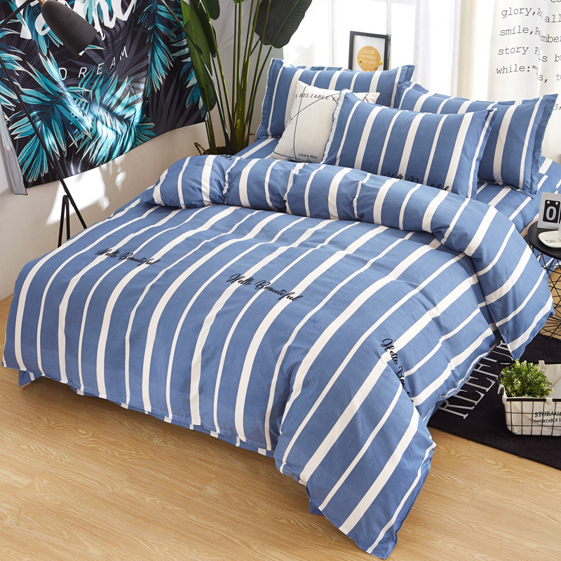 100%Cotton stripe Print 1Pcs Kids/Adult Duvet Cover with Zipper Quilt or Comforter or Blanket Case Twin Full Queen King Size