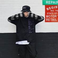 17AW tide brand high street loose BF wind streak splicing fake two-piece sweater male autumn hip-hop couple jacket Sweatshirt