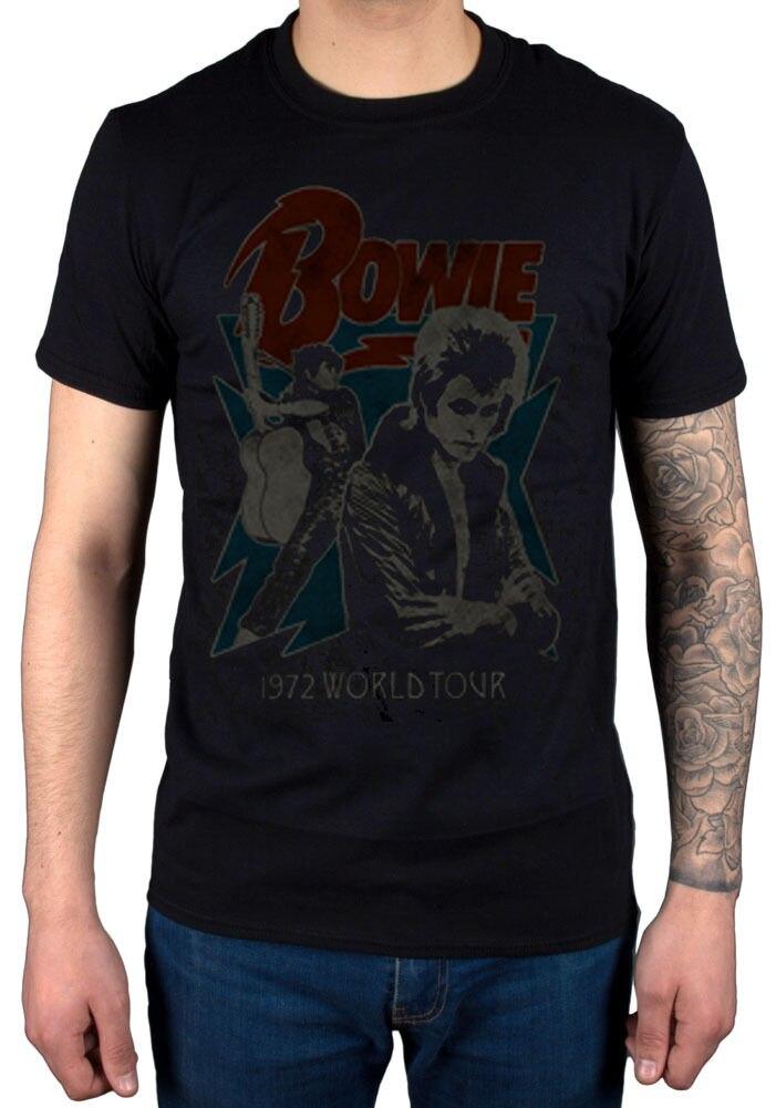 Official David Bowie 1972 World Tour NEW T-Shirt R.I.P Legend Jagger John Queen Mens T Shirts Fashion 2018 Clothing