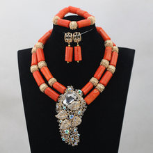 African Wedding Bridal Top Purple Orange Coral Beads Jewelry sets Nigerian Women Beads Necklace Jewelry Sets Free ShippingABH190(China)