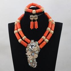 African Wedding Bridal Top Purple Orange Coral Beads Jewelry sets Nigerian Women Beads Necklace Jewelry Sets Free ShippingABH190