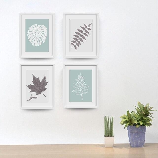 Nordic Minimalistische Leinwand Kunstdrucke Wand Bild, Moderne Einfache  Grau Weiß Blatt Poster Für Wohnzimmer Badezimmer