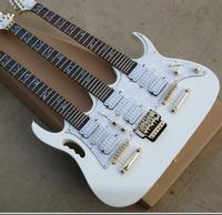 Free Shipping China Custom New arrival white color 6+6+12 Strings 3 neck Electric Guitar 2017 8