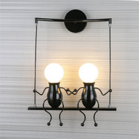 10W Led Wall light AC85 265V Creative lamp fixture Cartoon Double People home decoration for Bedside,Foyer Wall mounted