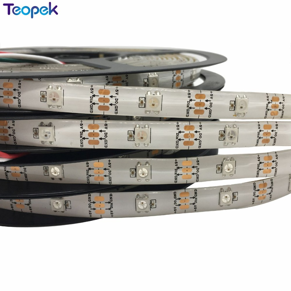 5M <font><b>WS2812b</b></font> <font><b>30</b></font> led/m 150 IC Led strip Waterproof Individually Addressable white PCB DC5V Free shipping image