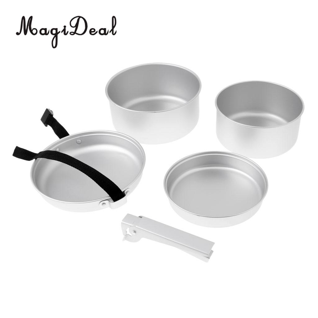 Kingcamp 7pcs Portable Stainless Steel Cookware Set For Camping Hiking Includes Pot Frypan Plates Bowels Carry Bag Dinner Set Campcookingsupplies