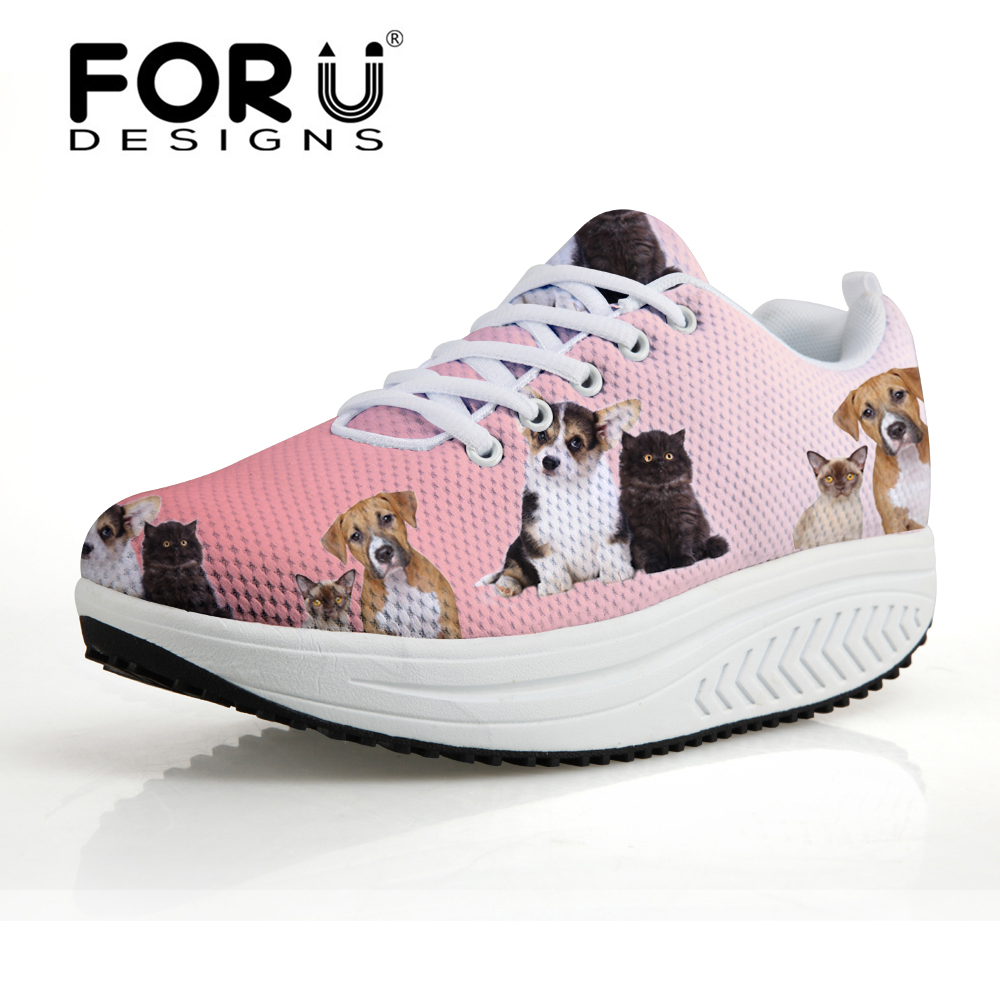 FORUDESIGNS Height Increasing Swing Shoes Woman 2017 Women's Casual Flat Platform Shoes Cute Dog Cat Puzzle Prints Slimming Shoe forudesigns women casual wedge platform shoes 3d animal rabbit printed height increasing shoes shape ups for female swing shoes