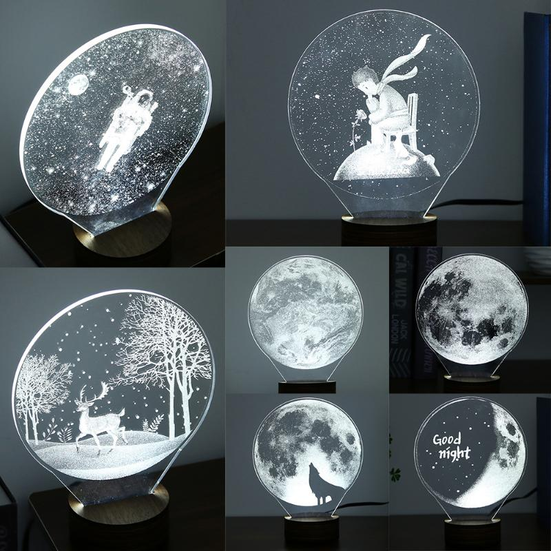 3D Table Moon Lamp Night Light LED Home Bedroom White Lighting USB Button Switch Desk Lamp Children Girl Gift for Holiday artpad creative cute cartoon umbrella style totoro night lamp usb port charged led bedroom light for kid boy girl desk lighting