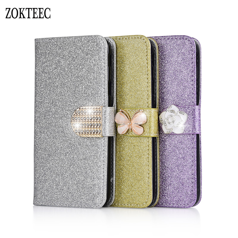ZOKTEEC New Fashion Bling Diamond Glitter PU Flip Leather mobile phone Cover Case For Doogee Y6 With Card Slot in Flip Cases from Cellphones Telecommunications