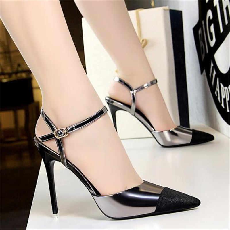 Scarpe da Festa di nozze Delle Donne di Punta A punta in Vernice Chanel Pompe Sottili tacchi Alti Fibbia della cinghia di Estate Pompa I pattini