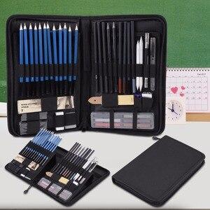 Image 5 - 48 adet/grup Profesyonel Eskiz Çizim Kalemler Kiti Taşıma Çantası Sanat Boyama Aracı Seti Siyah Ressam Için Öğrenciler Sanat Malzemeleri