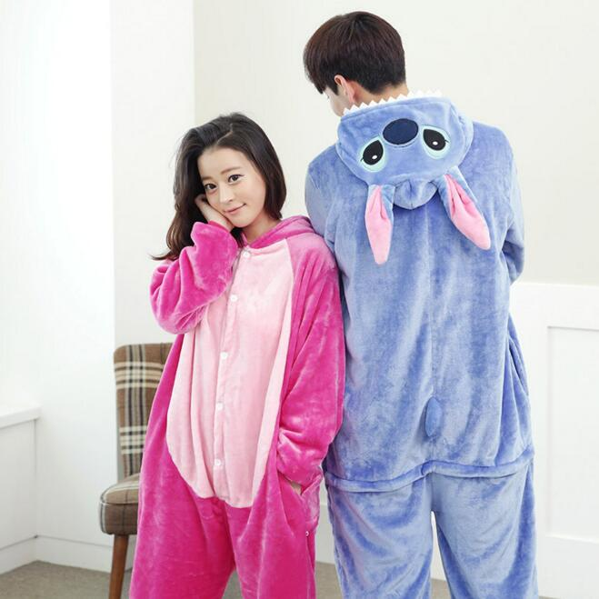 Lilo And Stitch Pajamas Anime Cosplay Costume Winter Flannel Hoodie Pajamas Adult Blue Pink Stitch Onesie Stitch Pajamas