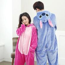 Lilo And Stitch Pajamas Anime Cosplay Costume Winter Flannel Hoodie Adult Blue Pink Onesie