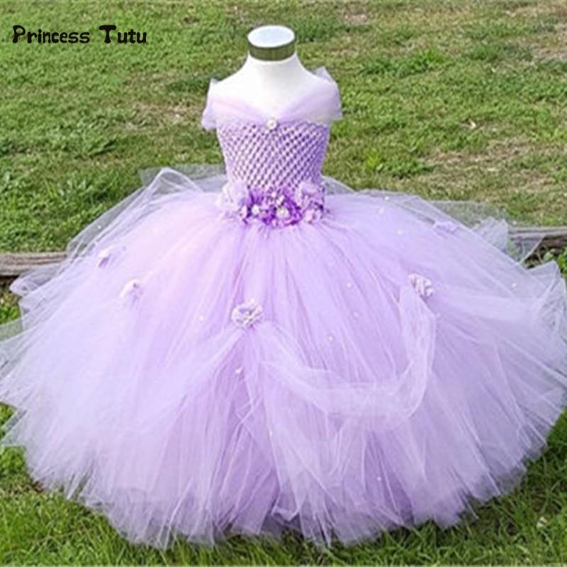 ФОТО 1-8Y Princess Tutu Tulle Flower Girl Dress Kids Party Pageant Bridesmaid Wedding Tutu Dress Pink Lavender Gown Dress Robe Enfant