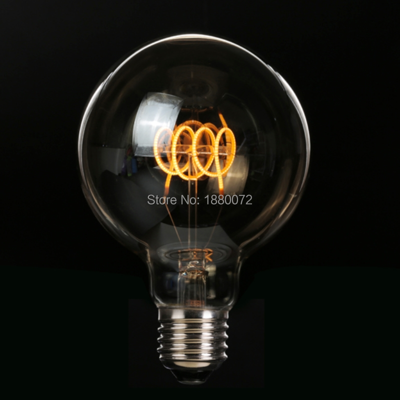G95 antique Edison bulb 4W dimmable soft LED filament 220V/240V E27