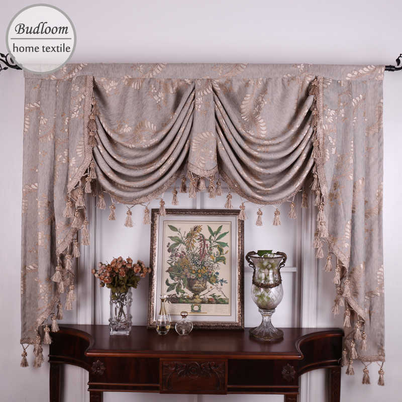 Budloom Jacquard Valance Curtains For Living Room Luxury Floral
