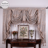 Budloom jacquard valance curtains for living room luxury floral swags for villa european style thick curtains for bedroom
