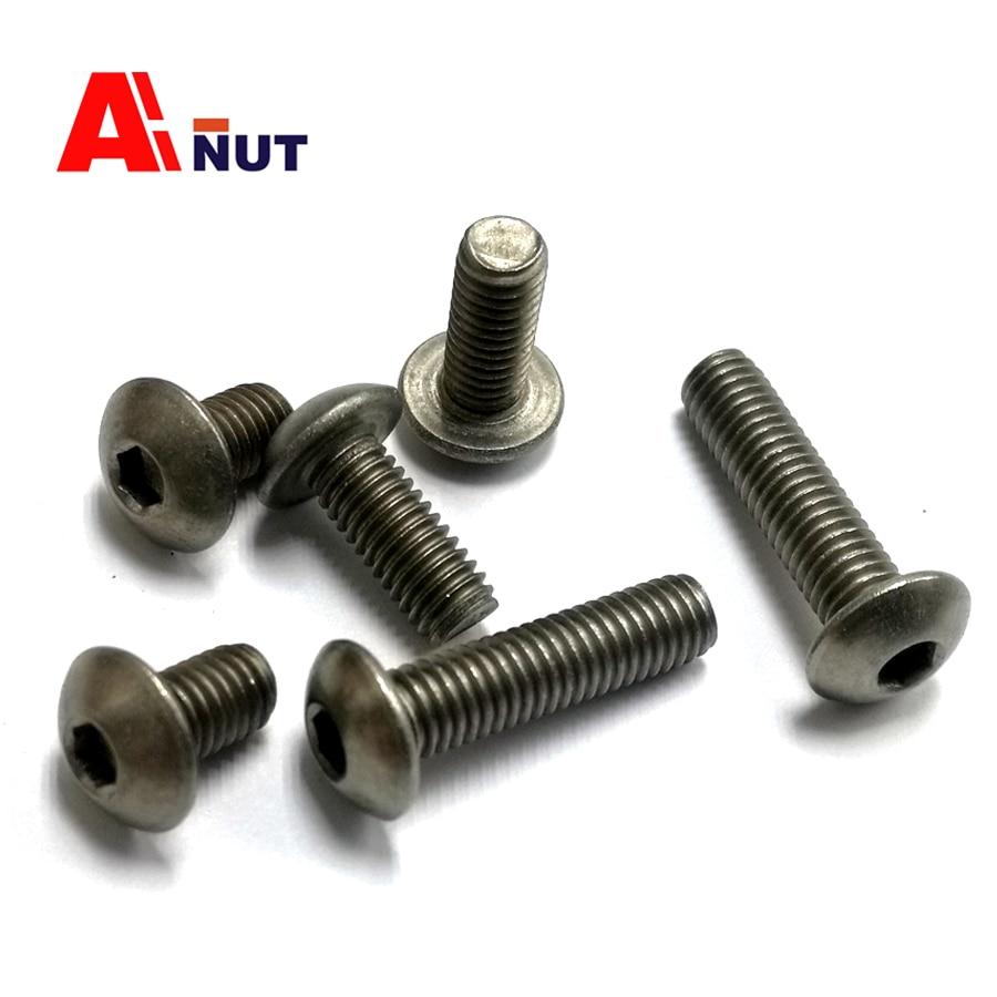 цена на m3 m4 m5 m6 Titanium screw hex socket button head screw kit, ISO 7380 Titanium bolt , super light screws antirust fastener