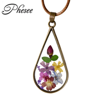 Fashion Natural Colorful Dried Flowers Pendant Brown Leather Rope Chain Long statement necklace & Pendant For Women Jewelry